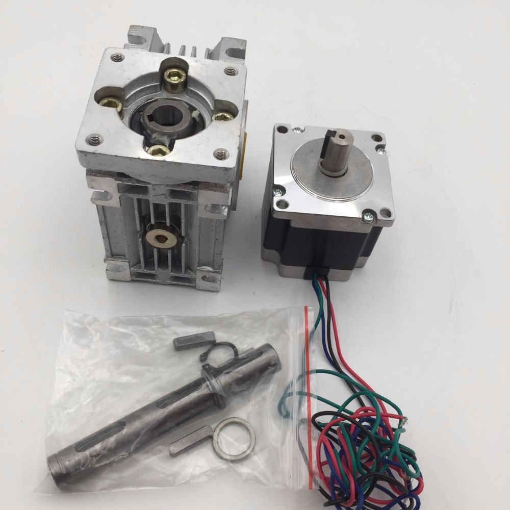 Nema23 worm geared 10 1 gearbox 57mm stepper motor l76mm for Stepper motor gear box