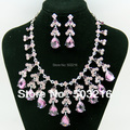 High Quality Pink Purple Crystal Rhinestone Silver Plated Promotion Fashion Necklace Earrings Wedding Jewelry Set