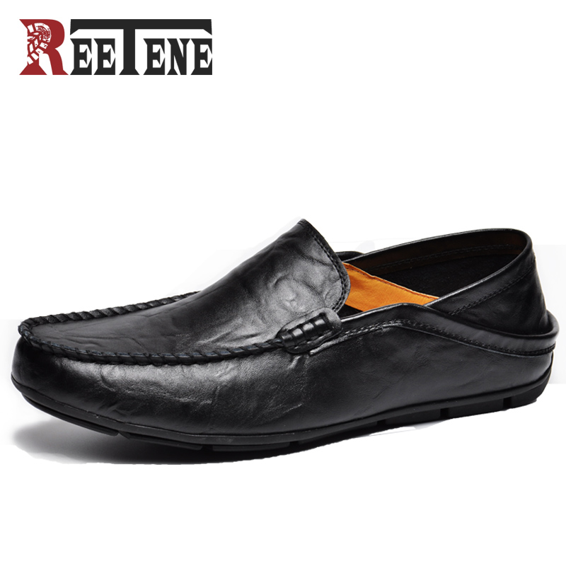 REETENE Fashion Casual Driving Shoes Genuine Leather Loafers Men Shoes 2019 New Men Loafers Luxury Flats Shoes Men Chaussure недорго, оригинальная цена