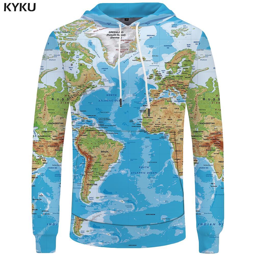 KYKU Brand World Map Sweatshirts Earth Sweat Shirt Funny 3d Mens Hoodies Hip Hop Clothing Men Cool Anime Autumn Winter 2018