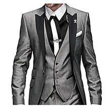 Men Suits Groomsmen Tuxedo Slim-Fit Lapel Custom Wedding Straje Best-Man 3pieces