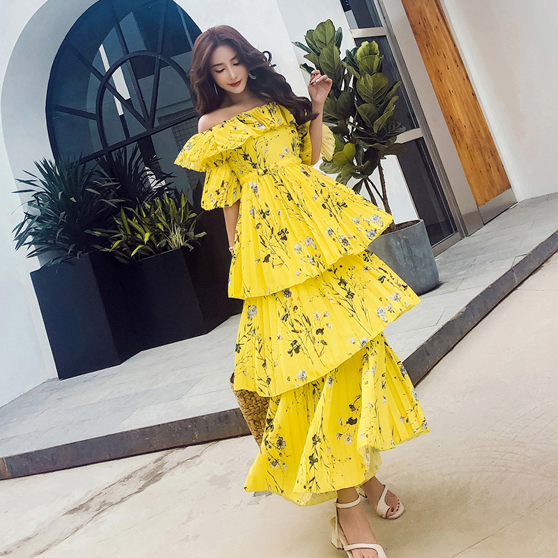 YiLin Kay New arrive self portrait women Runway yellow dress Ruffle Pleated printing Bohemian Long Dress