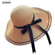 Sun Hat 2018 Summer New Fashion Wheat Panama Beach Ribbon bow Knot Naval Style Straw Woman Cap