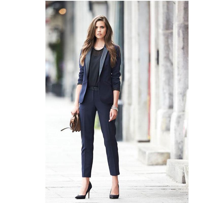 New Navy Office Uniform Designs Women Business Suits Female Trouser Suits Blazer Set Tuxedos B220