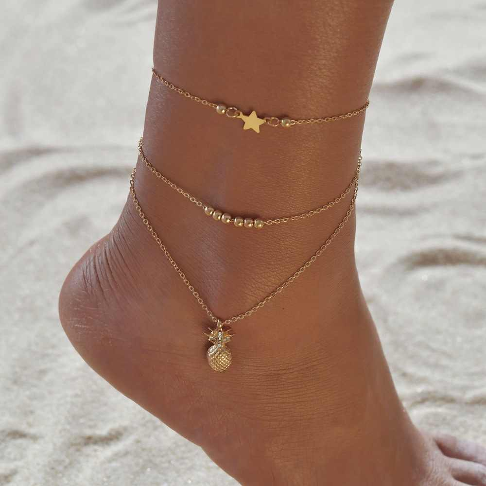 S137 Ankle Chain Pineapple Pendant Anklet Beaded 2018 Summer Beach Foot Jewelry Fashion Bohemian Multilayer Anklets for Women