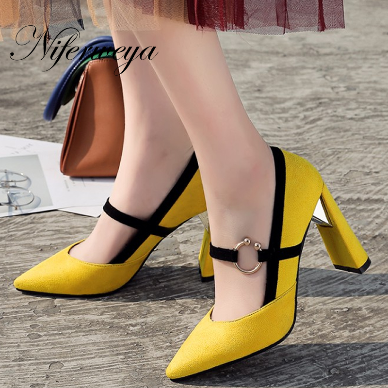 Nouveau printemps/automne fête talons hauts Grande taille 33-46 mode Bout Pointu En Métal Décoration femmes chaussures zapatos mujer
