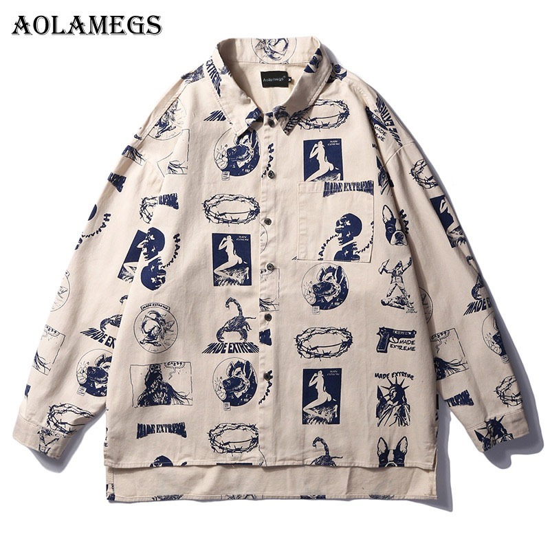 Aolamegs Shirts Men Multi Printed Male Shirts Thin Cotton Full Sleeve Shirt Pocket Fashion Casual College Loose Style Streetwear