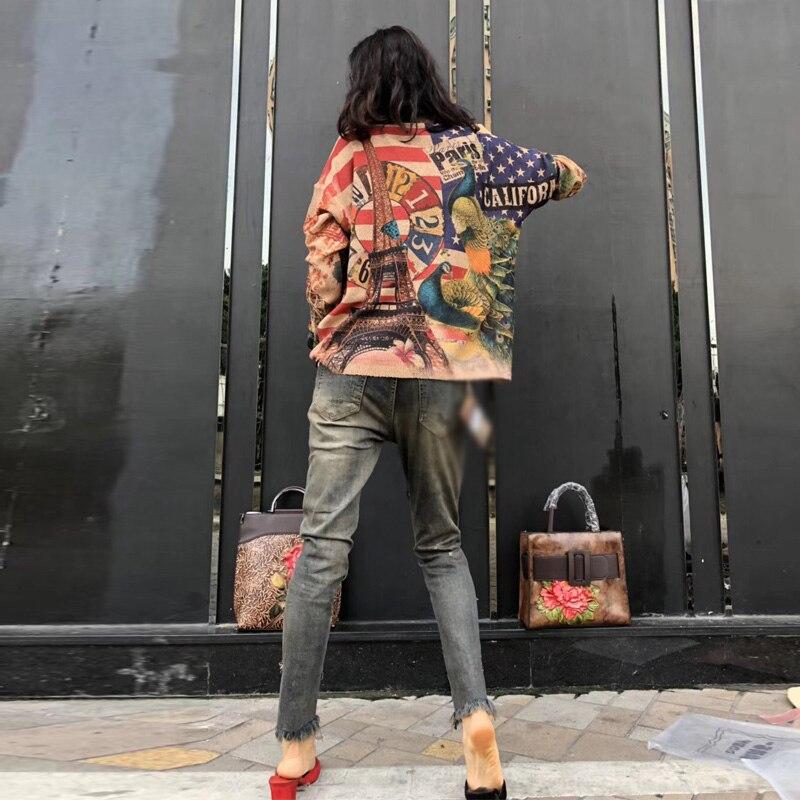 2019 Printemps Chandail Knit Lâche Nouvelles Automne souris Top Lt116s50 Européenne Femmes Vintage Paon Coréen Coloré Chauve Impression qfKHB