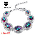 2017 Hot Luxury Bracelet big fancy fashion created gemstone red blue  Crystal Jewelry   silver gift  pulsera popular CYPRIS