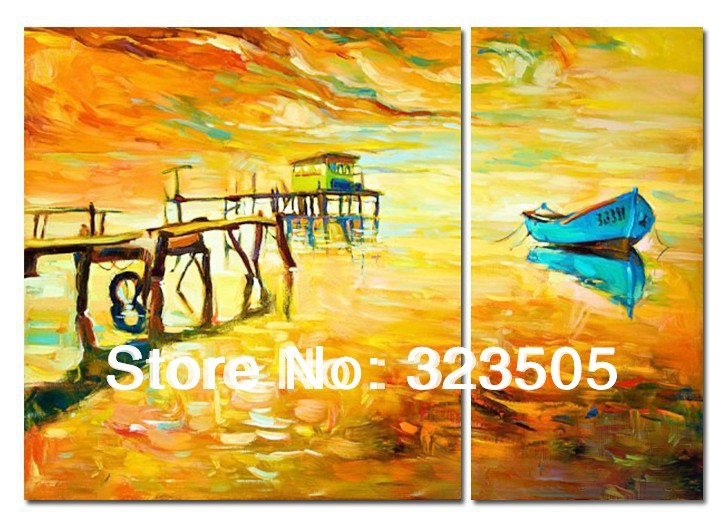 2 piece Abstract wall art canvas original handpainted boat lake oil ...