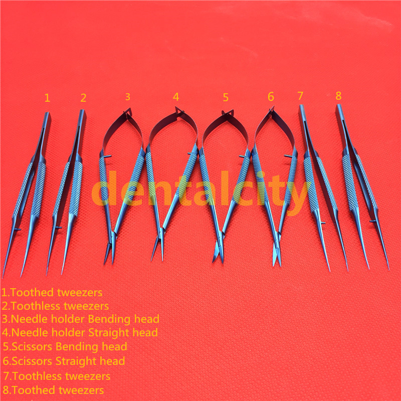 12.5cm Set Titanium Microsurgical Ophthalmic Surgical Instruments Dental Instruments Scissors+Needle Holders +Tweezers цена и фото