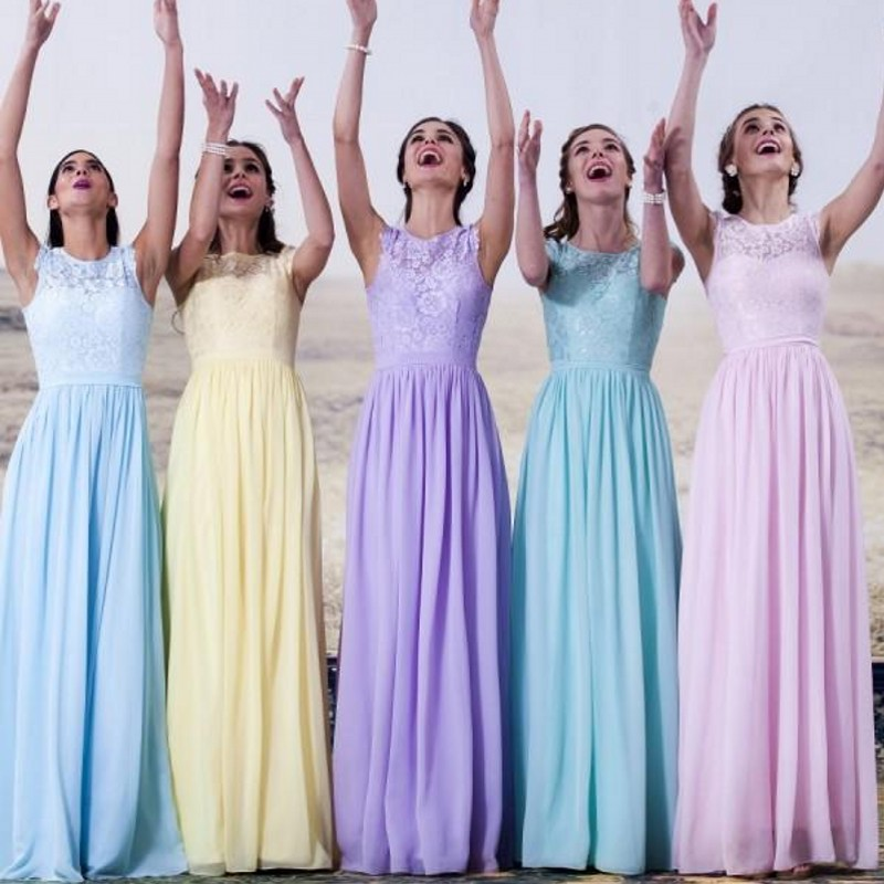 Mismatched Blue Bridesmaid Dresses For A Wedding Theme Garden Ideas