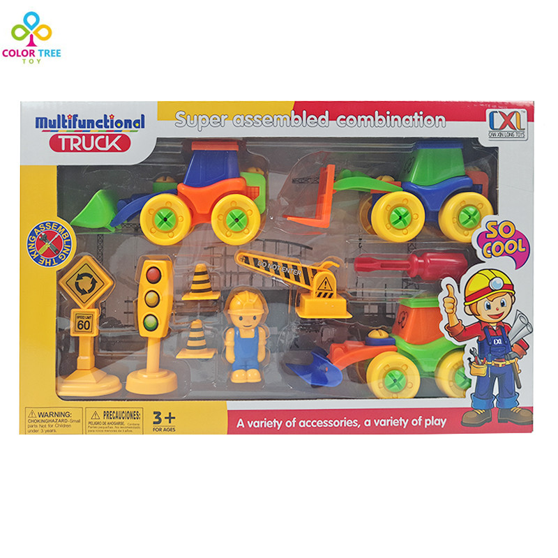 Novelty Toys Forklift Truck Tractor Disassembly Toy Assembled Combination Toy Cars For Boys