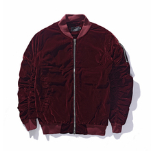 2017 New Arrived Kanye West MA1 Good Quilted Fall Rockstar Vantage Style Pleated Sleeve Velour Bomber Jacket Men