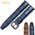 Retro Genuína pulseira de Couro Pulseira de Largura 20mm Azul faixa de relógio relógio de Pulso dos homens Pin fivela de cinto da mulher relógios de pulso banda