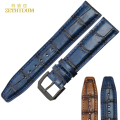 Retro Genuine Leather strap Width 20mm Watchband Blue watch band womans mens Wrist watch belt Pin buckle wristwatches band