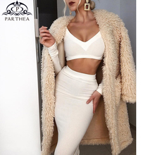Parthea Sexy Bodycon Dress Women V-neck Summer 2019 White Ribbed Midi Two Piece Elegant Party Casual Long Dresses