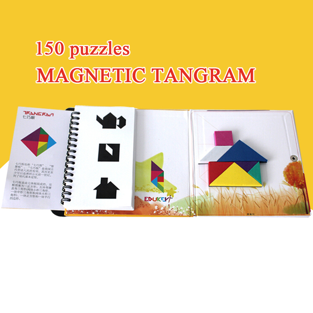 150/72 Puzzles Magnetic Tangram Kids Toys Challenge Your IQ A Montessori Educational Magic Book Suit For 3-100 Years Hobby Gift