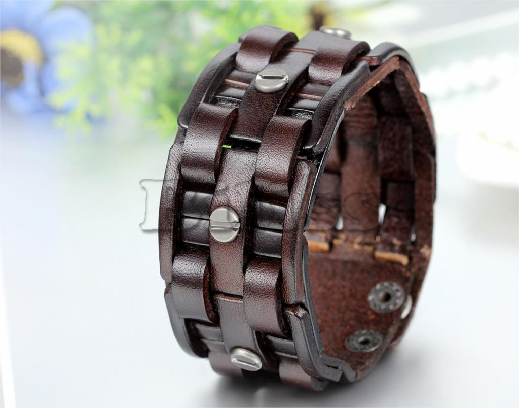 Topdudes.com - Brown Leather Wide Cuff Bracelet