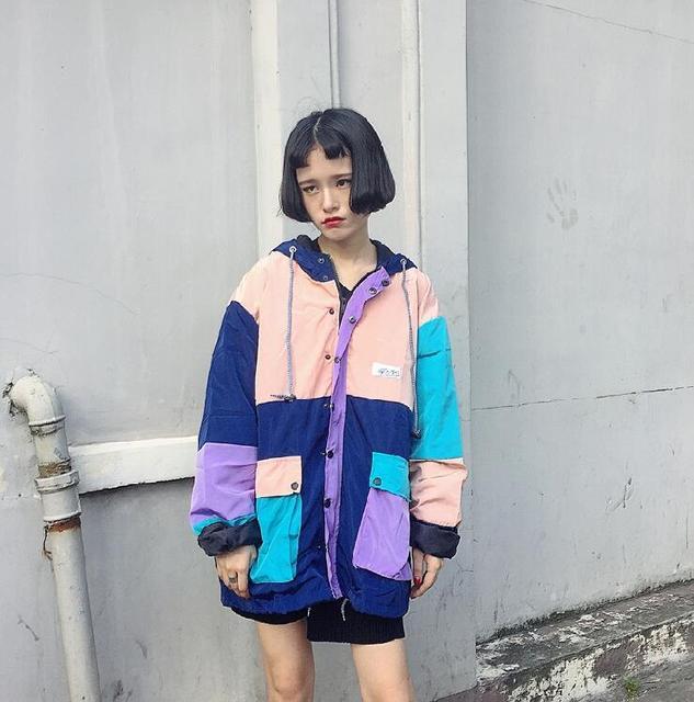 Versão coreana do estilo Harajuku solto big yards Magro solto jaqueta casual longo casaco