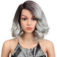 Magie Haar Kurze Lose Wellenförmige BOb Perücken 12 zoll Schwarz Synthetische Vordere Spitze Perücken Für African American Frauen Hohe temperatur Faser