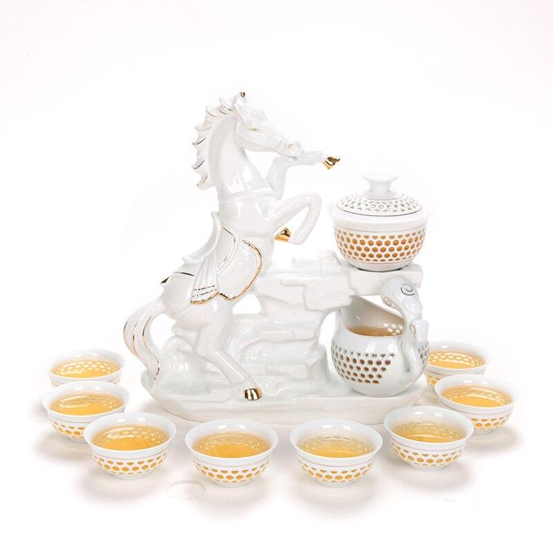 11 PCS/Lot créatif automatique ajouré en céramique porcelaine chinois Kung Fu thé Set thé tasses juste tasse cheval Base Gaiwan Kit Art cadeau