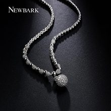 NEWBARK 11mm Ball Pendant Necklace White Gold Plated Plump Simulated Diamond Necklace Jewelry for Women Christmas Day