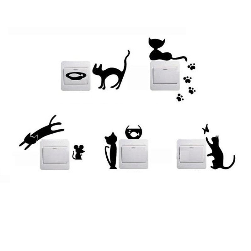 Cartoon Black Cat Home Switch Stickers Personalized Wall Stickers Decorated Socket 2SS0016