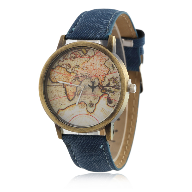 2016  Cowboy strap Map Watch By Plane Watches Women Men Denim Fabric Quartz Watch 7 color sports watches free shipping maisy goes by plane