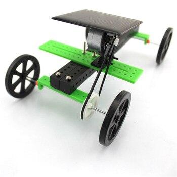 1 Set Mini Solar Powered Toy DIY Car Kit Children Educational Gadget Hobby Funny solar power system toys fingerboard wheels 2