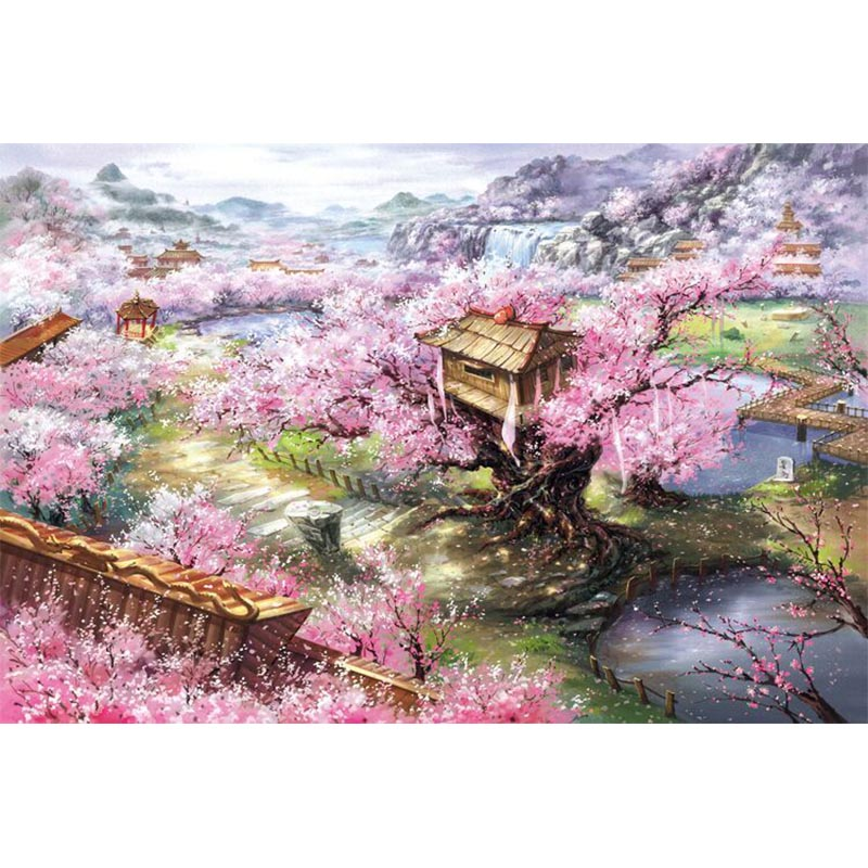 Adult 1000 Pieces Sakura Villa Noctilucent Puzzles Educational Puzzle 1000pcs Sakura Nature Landscape Puzzle