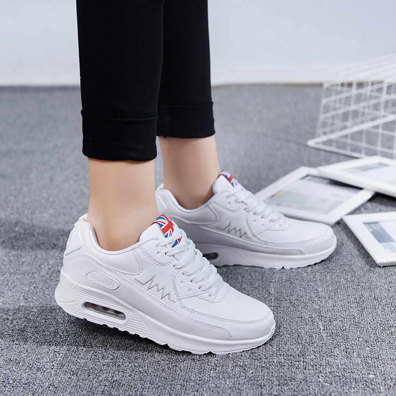 Hundunsnake Đệm Không Khí Nữ Sneakers Nữ Da Chạy Bộ Nữ Trắng của Phụ Nữ Giày Thể Thao Nữ Thể Thao Tập Gym t14