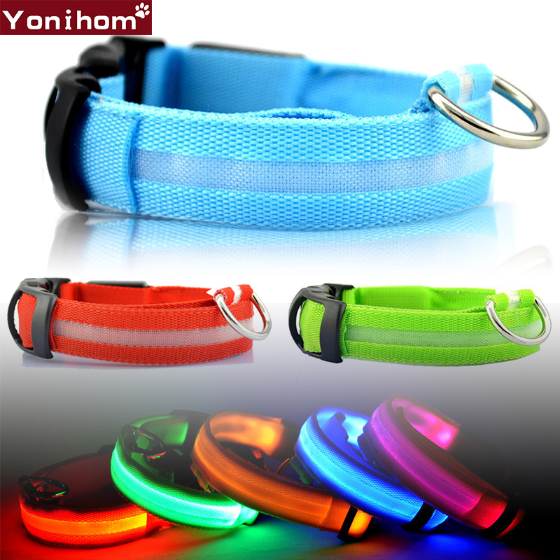 Nylon LED Pet Dog Nyakörv Night Safety Flashing Glow a sötét - Pet termékek