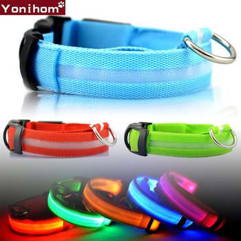 Nylon LED Pet Dog Collar Night Safety Flashing Glow In The Dark Leash Dogs Luminous Fluorescent Collars For Small Cats
