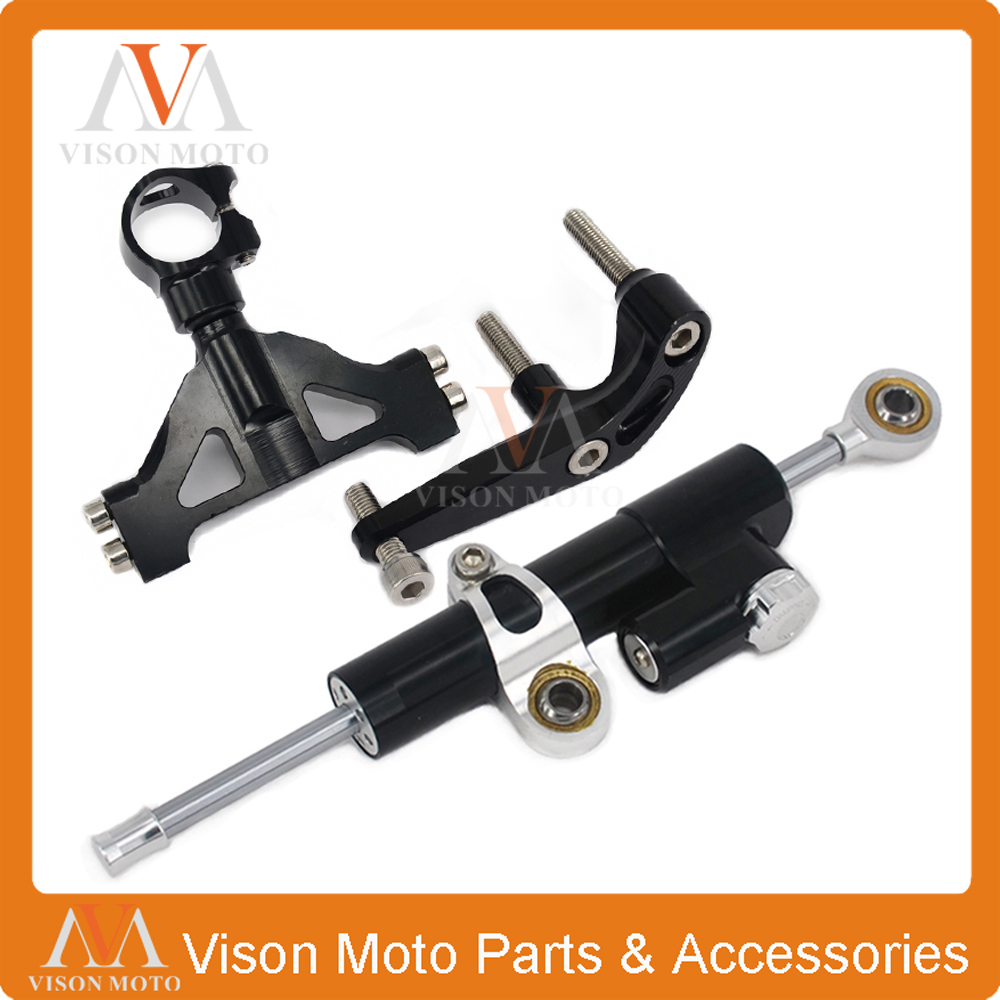 Фотография CNC Steering Damper Set Stabilizer With Bracket Mounting Assemblly For KAWASAKI ZX14R 05 06 07 08 09 10 11 12 13 14 15