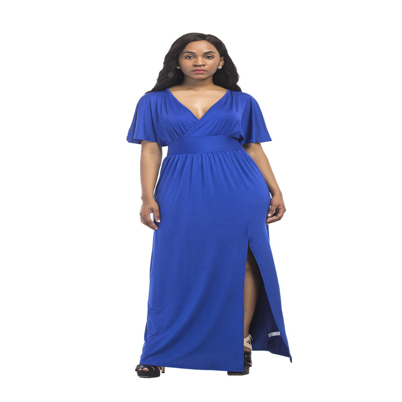 New hot summer fashion temperament sexy large solid color fat MM high waist loose wide leg casual middle aged women dress in Dresses from Women 39 s Clothing