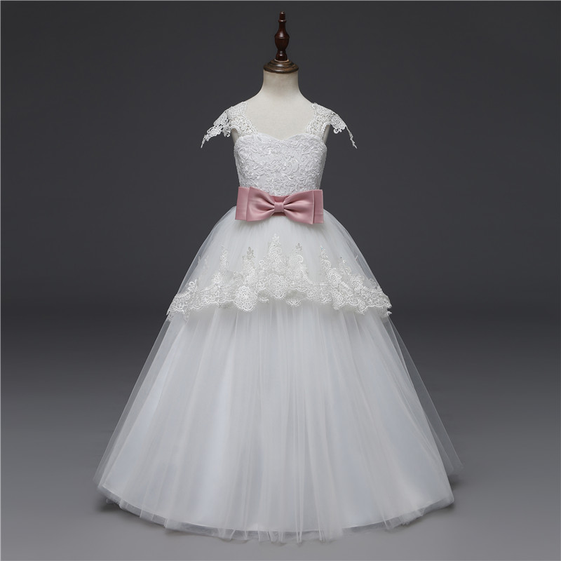 6 14 Years Girl White Wedding Dress Layered Frock Kids Dresses For