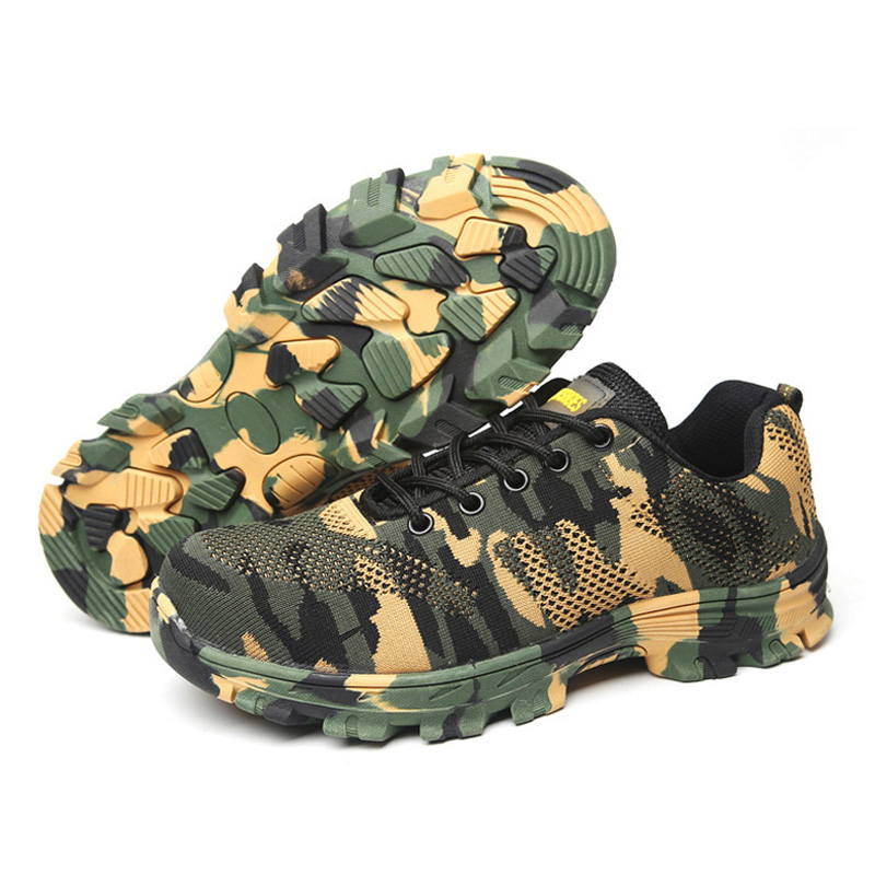 Camouflage Men Shoes Outdoor Work Safety Boots Indestructible Military Army Shoes Steel Toe Shoes Men Anti-smashing Male Boots