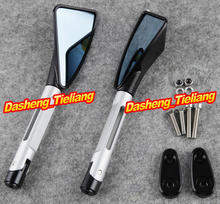 CNC Aluminum L&R Rearview Rear Side Mirrors For Yamaha 1999-2003 R6 & 2000-2001 R1, Silver + black