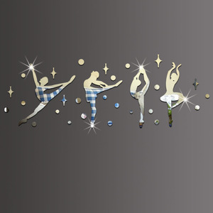 34 шт./компл. 3D акриловая зеркальная поверхность Наклейка на стену балетный танец для девочек дизайн для танцевальной комнаты детский сад украшение на стену 60067