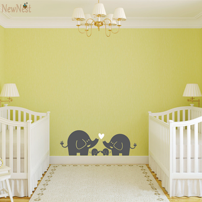 Removable Nursery Wall Decals Cute Elephant Hearts 2colors Family ...