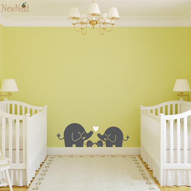 cute elephant hearts family wall decals baby nursery decor kids room