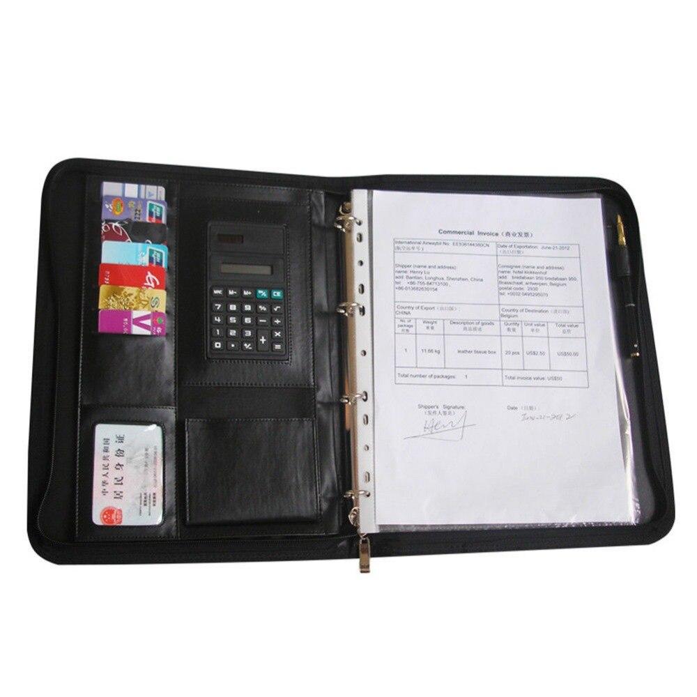 Ever Perfect A4 Zipper Bag Leather File Document Folder