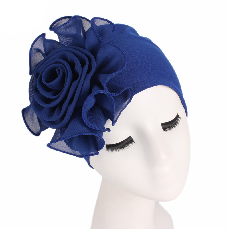 Fashion African women headscarf hat 1PC hair removal hat wedding big flower Bohemia elastic head in Women 39 s Hair Accessories from Apparel Accessories