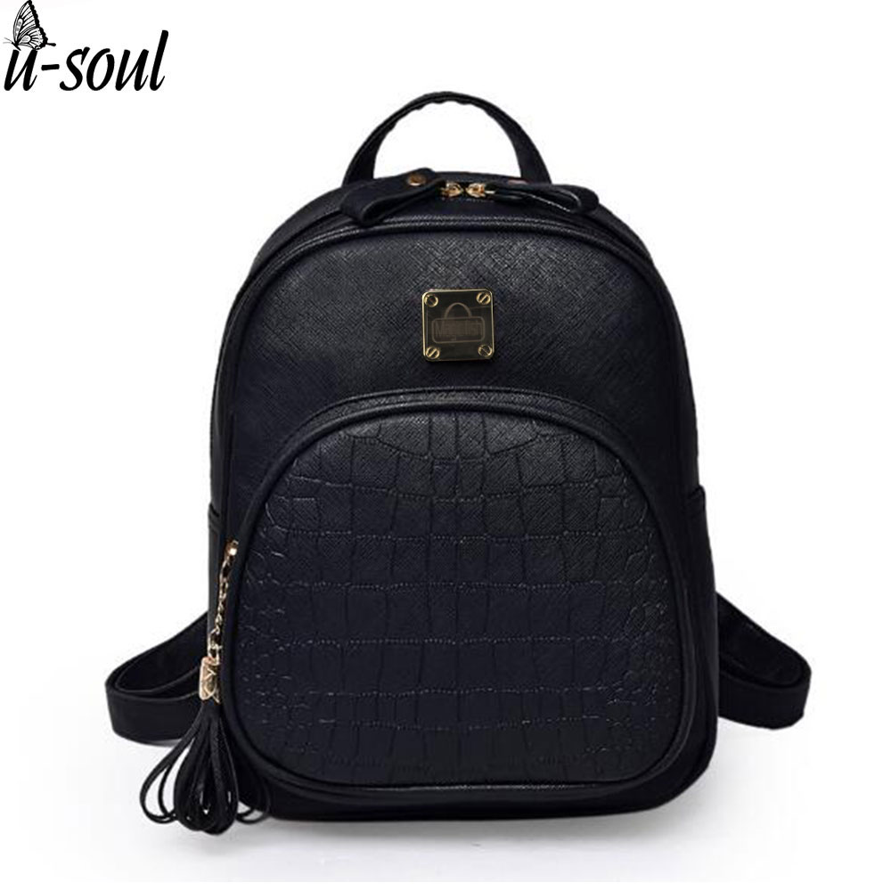 Korean Backpacks Fashion Small Shoulder Bag Crocodile Pattern PU Leather Backpack Embossed School Bags Backpack Women SC0390 fashion style women crocodile pattern doctor women backpack famous bags women s pu leather rucksack bag z762