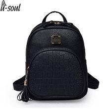 Korean Backpacks Fashion Small Shoulder Bag Crocodile Pattern PU Leather Backpack Embossed School Bags Backpack Women SC0390