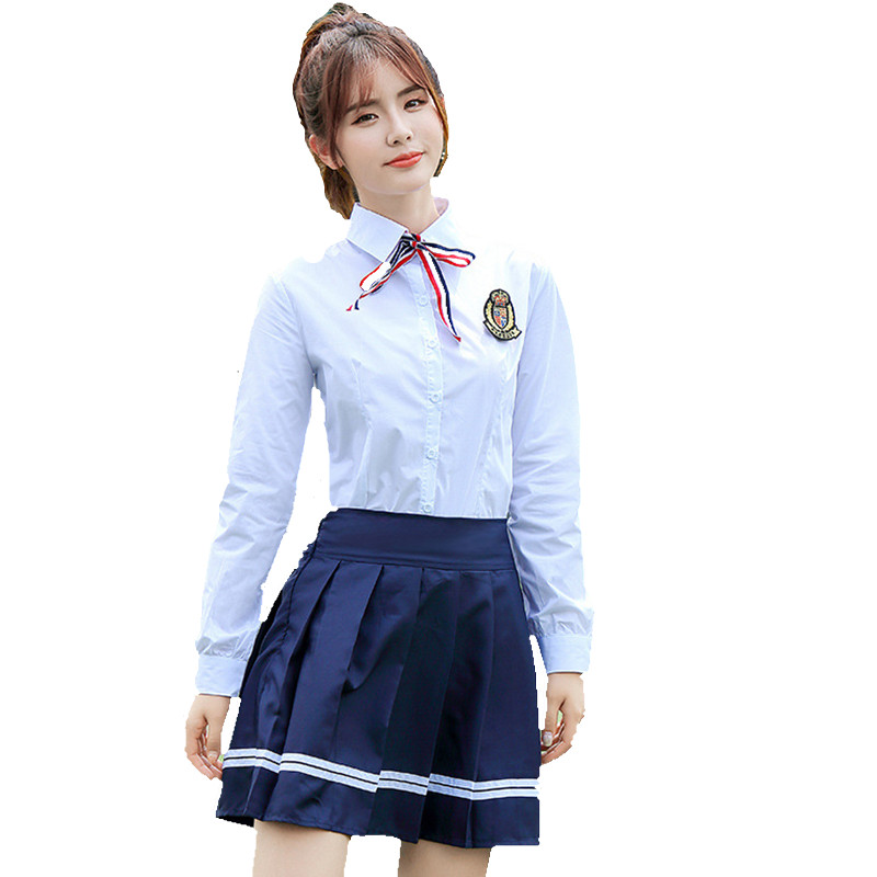 Japanese Students Sailor Uniform For Girls and Boys Primary High School Uniform Cosplay Straps Skirt +White Shirt +Ribbon Women