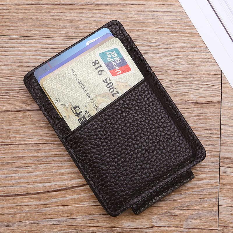DANJUE RFID bloqueando Clips de dinero de cuero genuino hombre cartera ultrafina tarjeta de negocios y soporte de identificación crédito de Clip de dólar caso de tarjeta de