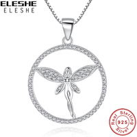 ELESHE AAA 100 Sterling Silver 925 Angel Charm Necklace Cubic Zirconia Women Round Pendant Necklace Sterling