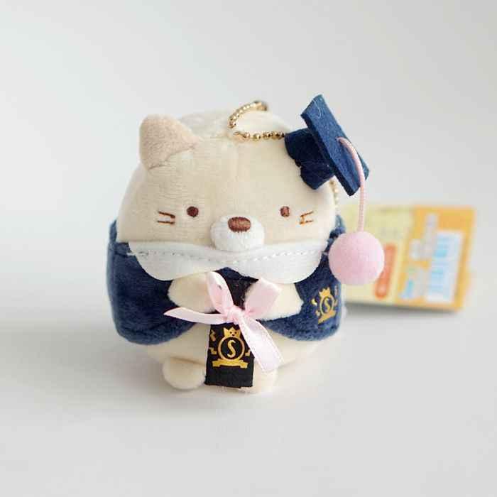 Kawaii anime sumikko canto san-x bio graduação brinquedo de pelúcia boneca bonito handheld biológico manto animal pingente meninas presentes